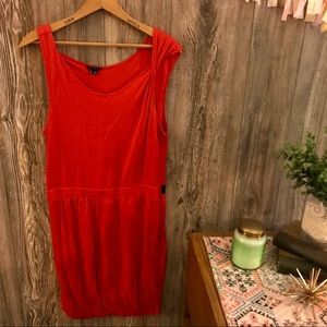 {theory} dark red-orange modal knit tank dress m